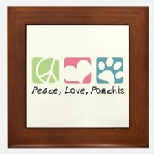 Peace, Love, Pomchis Framed Tile