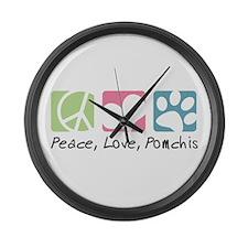 Peace, Love, Pomchis Large Wall Clock