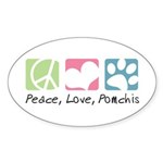 Peace, Love, Pomchis Sticker (Oval 10 pk)