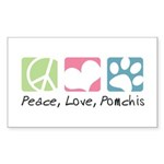 Peace, Love, Pomchis Sticker (Rectangle 10 pk)