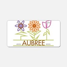 Aubree with cute flowers Aluminum License Plate