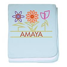 Amaya with cute flowers baby blanket