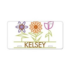 Kelsey with cute flowers Aluminum License Plate