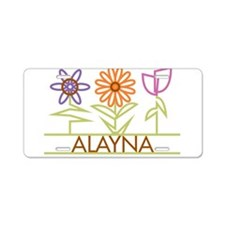 Alayna with cute flowers Aluminum License Plate