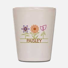 Paisley with cute flowers Shot Glass
