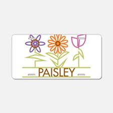 Paisley with cute flowers Aluminum License Plate