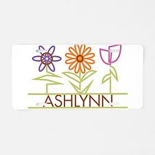 Ashlynn with cute flowers Aluminum License Plate