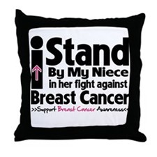 I Stand Niece Breast Cancer Throw Pillow