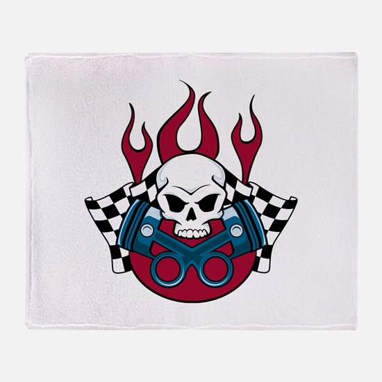 Racing Skull Throw Blanket