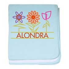 Alondra with cute flowers baby blanket