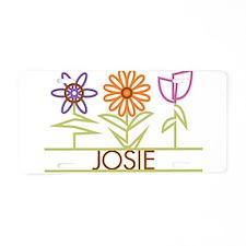 Josie with cute flowers Aluminum License Plate