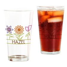Hazel with cute flowers Drinking Glass