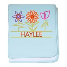 Haylee with cute flowers baby blanket