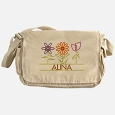 Alina with cute flowers Messenger Bag