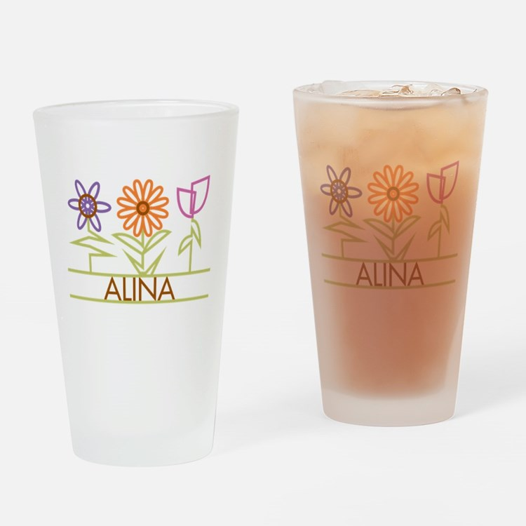 Alina with cute flowers Drinking Glass