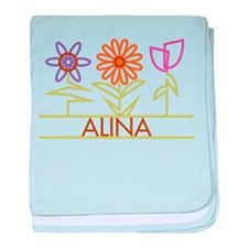 Alina with cute flowers baby blanket