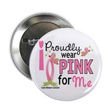 """I Wear Pink 27 Breast Cancer 2.25"""" Button (10 pack"""