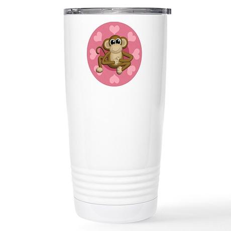Monkey Me Pink Love Stainless Steel Travel Mug