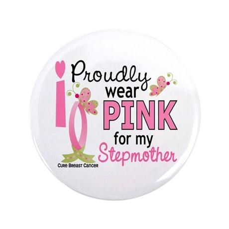 """I Wear Pink 27 Breast Cancer 3.5"""" Button"""