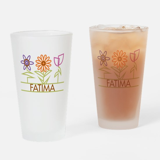 Fatima with cute flowers Drinking Glass