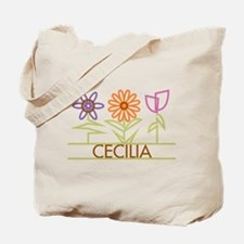 Cecilia with cute flowers Tote Bag