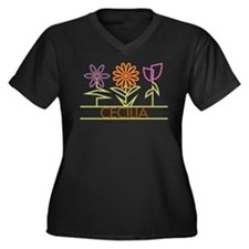 Cecilia with cute flowers Women's Plus Size V-Neck