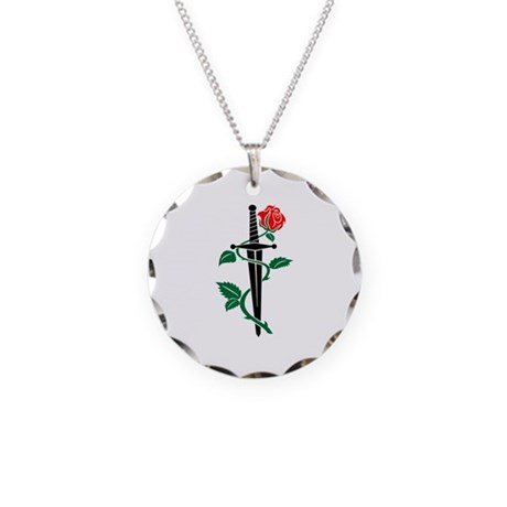 Knife Rose Necklace Circle Charm