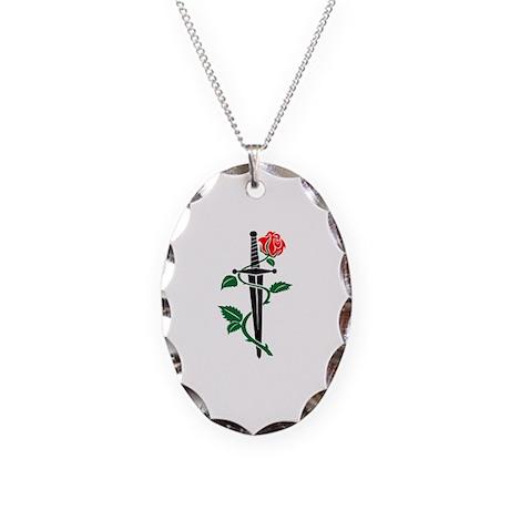 Knife Rose Necklace Oval Charm