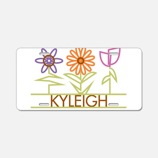 Kyleigh with cute flowers Aluminum License Plate