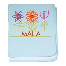 Malia with cute flowers baby blanket