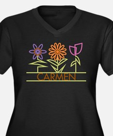 Carmen with cute flowers Women's Plus Size V-Neck