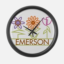 Emerson with cute flowers Large Wall Clock