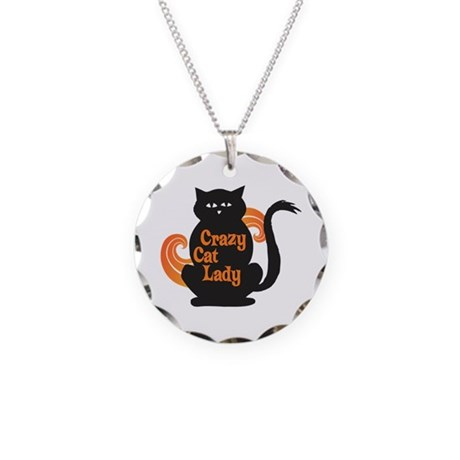 Crazy Cat Lady Necklace Circle Charm