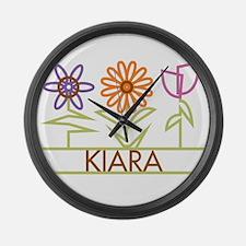 Kiara with cute flowers Large Wall Clock