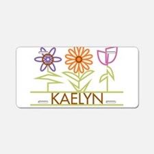 Kaelyn with cute flowers Aluminum License Plate