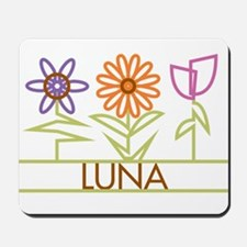 Luna with cute flowers Mousepad