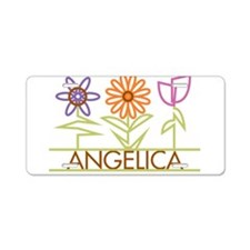 Angelica with cute flowers Aluminum License Plate