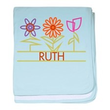 Ruth with cute flowers baby blanket