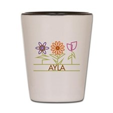Ayla with cute flowers Shot Glass