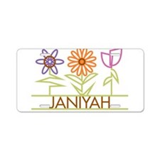 Janiyah with cute flowers Aluminum License Plate