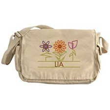 Lia with cute flowers Messenger Bag