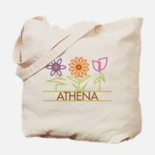 Athena with cute flowers Tote Bag