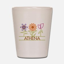 Athena with cute flowers Shot Glass