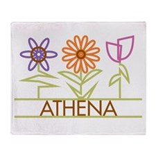 Athena with cute flowers Throw Blanket