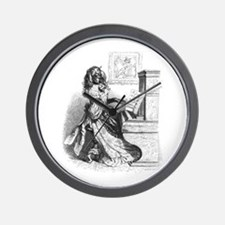 Dog Girl Playing Piano Wall Clock