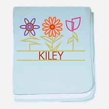 Kiley with cute flowers baby blanket