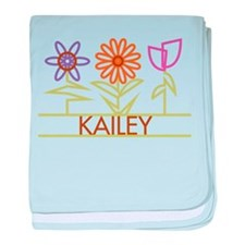 Kailey with cute flowers baby blanket