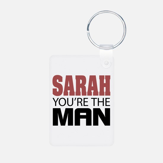 SARAH You're The MAN Aluminum Photo Keychain