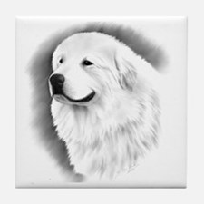 Great Pyrenees Headstudy Tile Coaster