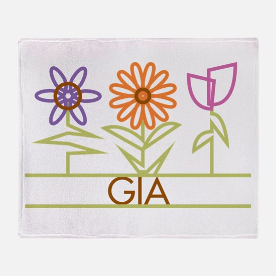 Gia with cute flowers Throw Blanket